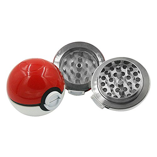 OKOKMALL US--55mm 3 Layer Zinc Alloy Pokeball Pokemon Tobacco Spice Herb Grinder Nice Gift