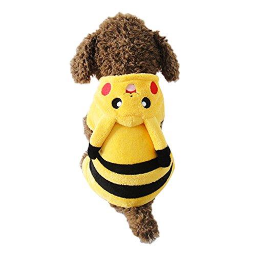 Pikachu Dog Costumes (Gimilife PT Yellow Pet Dog Comic Pattern Party Costume Pajamas Hoodie Coat Warm Fleece Small Cute Pikachu Fancy Outfit (XL))