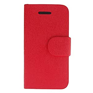 Silk Print Full Body Case with Card Slot,Stand and Matte Inside Cover for iPhone 4/4S (Assorted Colors) --- COLOR:Red