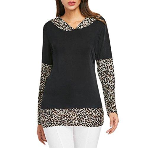 - Zainafacai Hooded Tops, Women V-Neck Matching Leopard Print Patchwork Blouse Tops (White, XL)