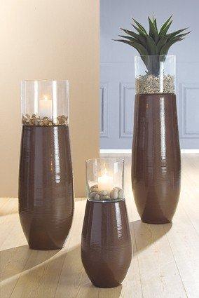 2 In 1 Bodenvase Und Windlicht Aus Glas Und Keramik Braun 60 Cm