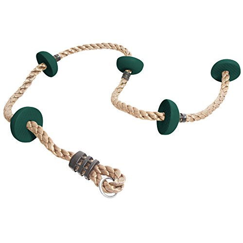JGS 6.5 ft Climbing Rope with Foot Holds for Jungle Gym, Kids Backyard Playground Swing Set, Tree Swing, Climbing Rope Ladder (Dark Green) by Jungle George Swings