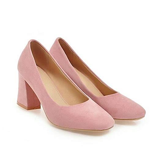 QOIQNLSN Zapatos De Mujer Suede Primavera Bomba Básica Tacones Chunky Talón Blanco/Negro / Rosa Pink
