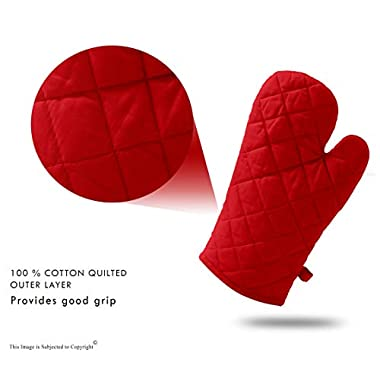 DM COOL COTTON - Oven Gloves Set (Red) (2 Oven Gloves) (Heat Proof) 9