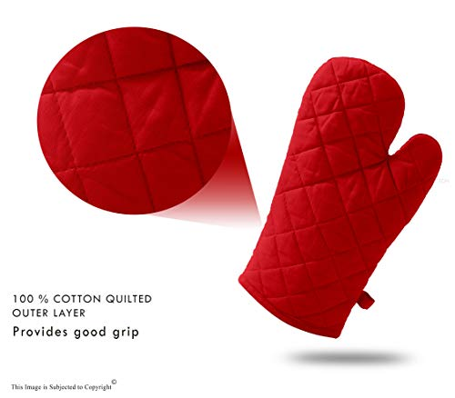 DM COOL COTTON - Oven Gloves Set (Red) (2 Oven Gloves) (Heat Proof) 4