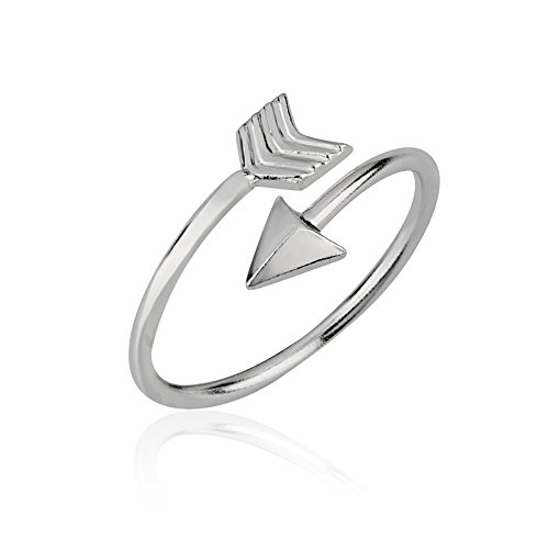 925 Sterling Silver Polished Symbolic Wrap Around Arrow Above the Knuckle Midi & Finger Ring, Size 4 (Ring Wrap Arrow)