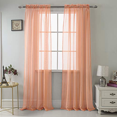 RT Designers Collection Celine Sheer 55 x 90 in. Rod Pocket Curtain Panel, Coral