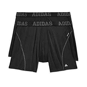 adidas Men's Sport Performance Climacool Boxer Brief Underwear (2-Pack), Black/Thunder Grey, Medium
