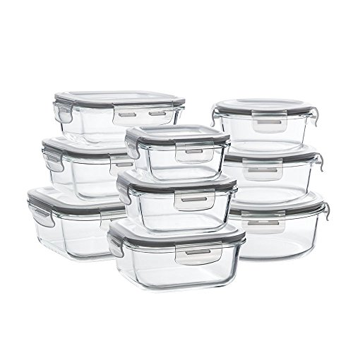 Glass Storage Containers with Lids, 9-Pack Glass Meal Prep Containers Airtight, Glass Food Storage Containers, Glass Containers for Food Storage with Lids - BPA Free