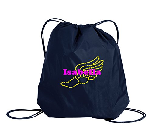 Cheap Track Field Personalized – Drawstring Sack Cinch Backpack (Navy)