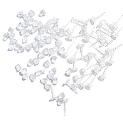 TOAOB 100pcs Earring Stud Settings Earnuts 3mm Cupped Allergy Free Clear Ear Pins Plastic