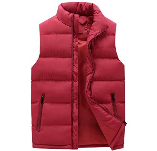 Andopa Men Zip Up Packable Mandarin Collar Puffer Jacket Vest Waistcoat Wine Red 4XL