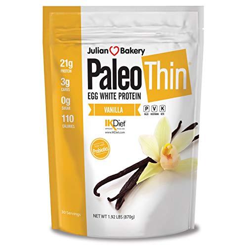 Paleo Thin® Protein Protein Powder Vanilla (Egg White) (2lbs) (Soy Free) w/Monk Fruit (30 Servings) ()