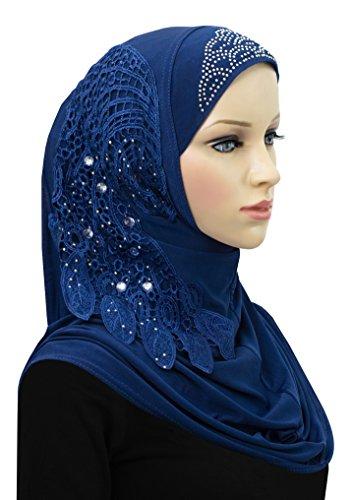 Hijab 1 Piece Amira Headscarf Lycra Dream Catcher Design (Royal Blue) by Khatib Fashions