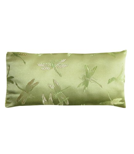 Lavender Filled Silk Eye Pillow - Green Dragonflies - Lavender Silk Eye