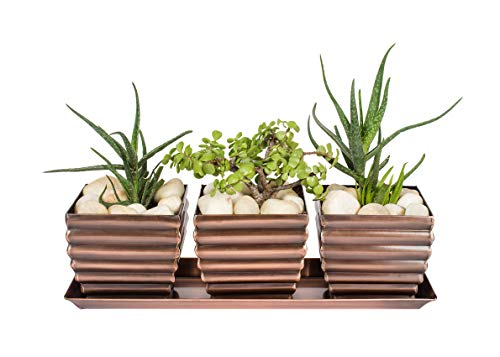 H Potter Window Box Planter Pots with Tray Outdoor Indoor Succulent Flower Herb Box for Home, Patio, Garden, Deck, Balcony - Antique Copper Finish