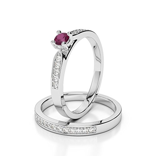G-H/VS 0,20 CT Coupe ronde sertie de diamants Rubis et diamants blancs et bague de fiançailles en platine 950 Agdr-1054
