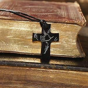 (Cross Necklace - The Dove, Holy Sprit - Hand Carved, Black Serpentine Stone from Holy Land)