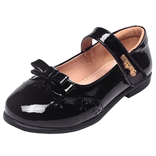 Oasap Mädchen Lackleder Party Mary Jane Schuhe Black