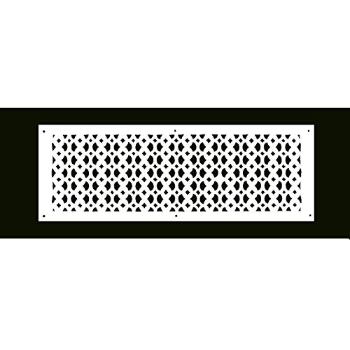 (Air Return Grill 8X26 - Handcrafted Cast Aluminum Air Return Vent - Elegant Air Return Grille for Floors, Ceilings, Walls, Durable, Sand Casted, Powder Coated, Matte Flat - White)