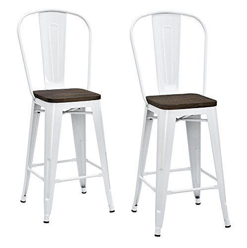 Back Wood Seat Stool (DHP Luxor Metal Counter Stool with Wood Seat and Backrest, Set of two, 24