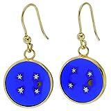 GlassOfVenice Murano Glass Millefiori Round Dangle Earrings''Moon and Stars'' - Gold