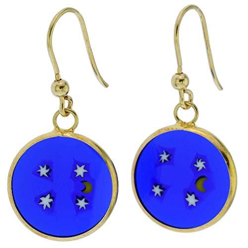 GlassOfVenice Murano Glass Millefiori Round Dangle Earrings