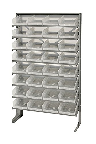 - Quantum 32 QSB107CL Clear-View Bin Storage Sloped Shelving Single-Sided Pick Rack System 12