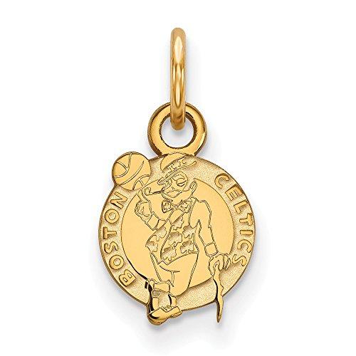 Roy Rose Jewelry 10K Yellow Gold NBA LogoArt Boston Celtics X-small Pendant/Charm (Womens Charm Celtic)