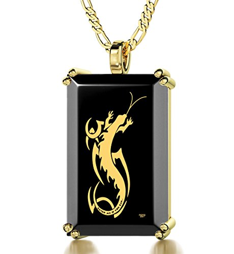 Gold Plated Men's Newt Necklace Inscribed with ''Catch Me If You Can'' in 24k Gold onto a Black Onyx Pendant, 20'' Gold Filled Chain by Nano Jewelry