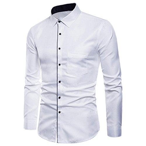 Camisa Top Gentleman a Fit Casual Camisetas manga Fashion Ropa 4xl Blanco Trajes formales Adeshop Tama Chic Color Pure o de M hombre Lapel larga de Men Slim fqrfUH