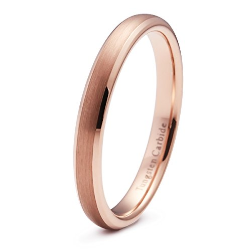 (NaNa Chic Jewelry 3mm Domed Tungsten Carbide Ring Rose Gold Plated Engagement Band Brushed Beveled)