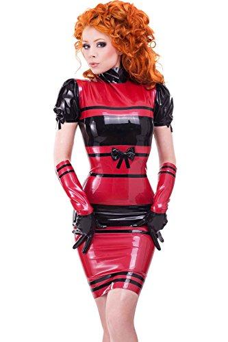 Westward Bound Dame Subversion Latex Gummikleid. PS-rot Mit Schwarzer Polsterung Perle Glanz Rot mit Blac E2eL0rd