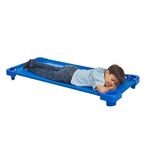 ECR4Kids Children's Naptime Cot, Stackable Daycare Sleeping Cot for Kids, 52'' L x 23'' W, Assembled, Blue (Set of 5) by ECR4Kids (Image #4)