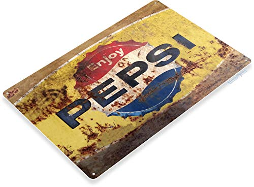 (Tinworld Tin Sign Pepsi Rusty Rustic Retro Soda Cola Metal Sign Decor Kitchen Cottage Cave A564)