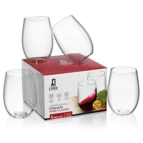 Curio Kitchen Unbreakable Stemless Wine Glasses (4 Piece Set) plus Ebook Download - BPA Free Plastic, Shatterproof, Dishwasher Safe - 16 Ounce Cups ()