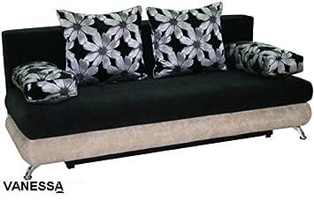 VANESSA Grande Oscuro Tejido sofá Cama sofá con Zona de ...