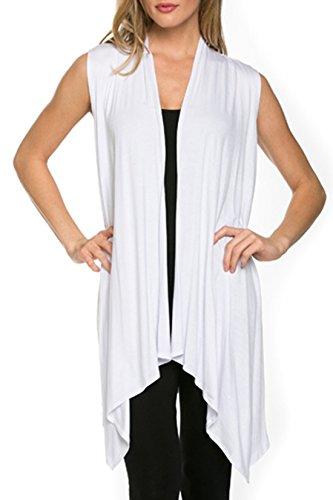 Womens Solid Sleeveless Asymetric Cardigan