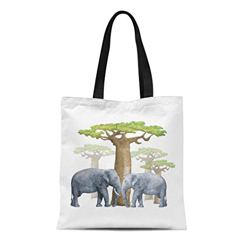 Semtomn Cotton Line Canvas Tote Bag Trunk Elephants and Baobab African Safari Designs Ideas Images Reusable Handbag Shoulder Grocery Shopping Bags