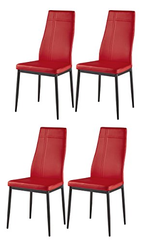 Kings Brand Furniture Dining Room Kitchen Side Chairs (Set of 4, Red)