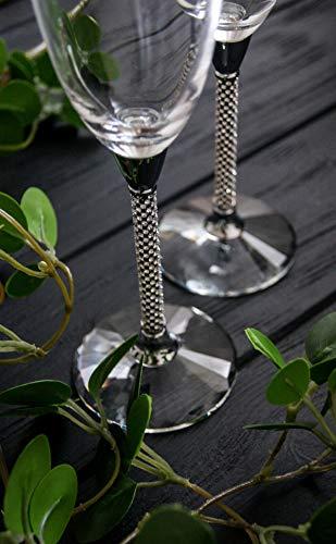 Silver crystal wedding toast champagne flutes Swarovski toasting glasses bride groom Wedding gift Elegant wedding glasses