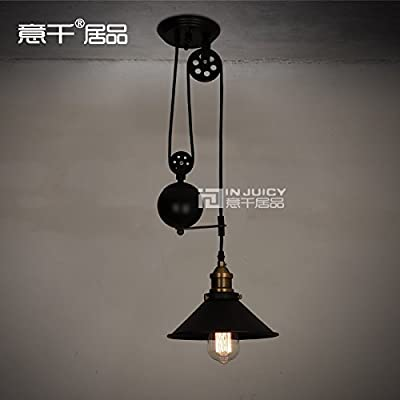 Injuicy Lighting Loft RH Edison Ceiling Chandelier lifting Industrial Lamp Vintage Barn Pendant Light Mirror Fixture