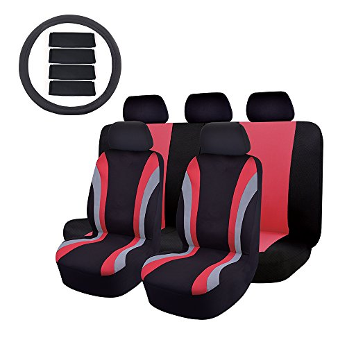 Car Seat Cover OMISS Universal Fit Full Set Sports Fabric car seat cover sets for SUV Truck Van 14 pc