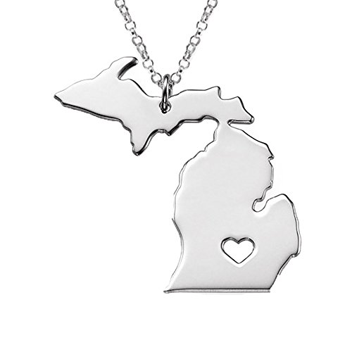 18K Gold Silver Country Map Charm Pendant Michigan state Map Necklace Jewelry (Silver)
