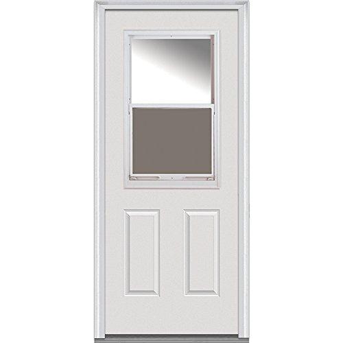 National Door Company Z000316L Fiberglass Smooth Primed, Left Hand In-swing, Prehung Front Door, 1/2 Lite Venting 2-Panel, Clear Glass, 32'' x 80'' by National Door Company