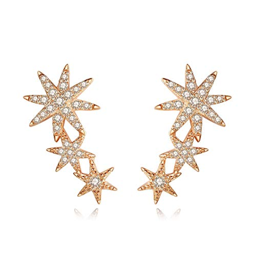 (Presentski 3 Star Climber Stud Earrings 925 Sterling Silver 14K Rose Gold Starburst Crawler Dangling Earrings Mothers Day Gift for)