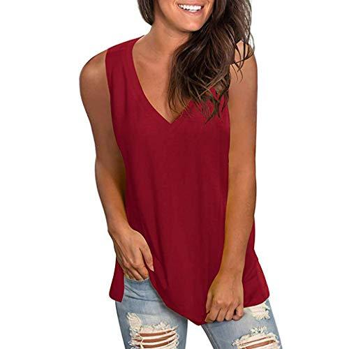 HIRIRI Women's V Neck T Shirt High Low Side Split Tunic Tops Summer Sleeveless Vest Shirt Casual Blouse Wine