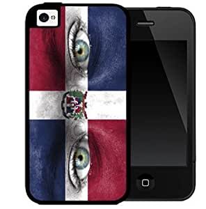 Dominican Flag with Two Eyes Blue Red and White 2-Piece Dual Layer High Impact Black Silicone Cell Phone Case Cover iPhone 4 4s