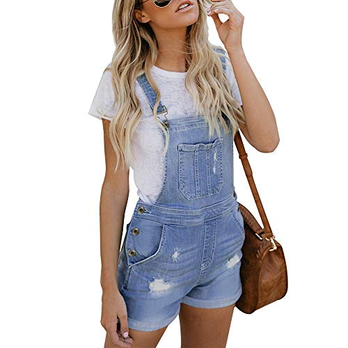 VIGVOG Women's Juniors Denim Cotton Short Overalls Stretchy Cute Jeans Shorts (S, Light Blue)