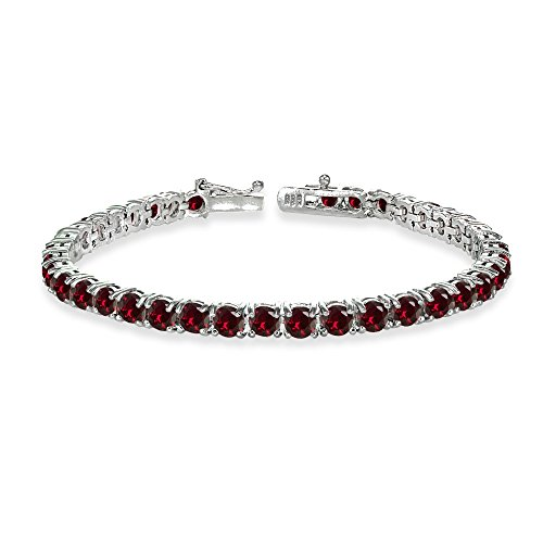 Sterling Silver 4mm Created Ruby Round-cut Tennis ()